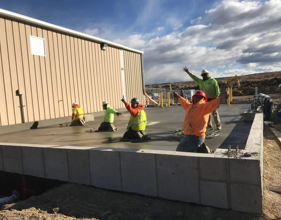 Hi from our concrete crew on this commercial construction project!