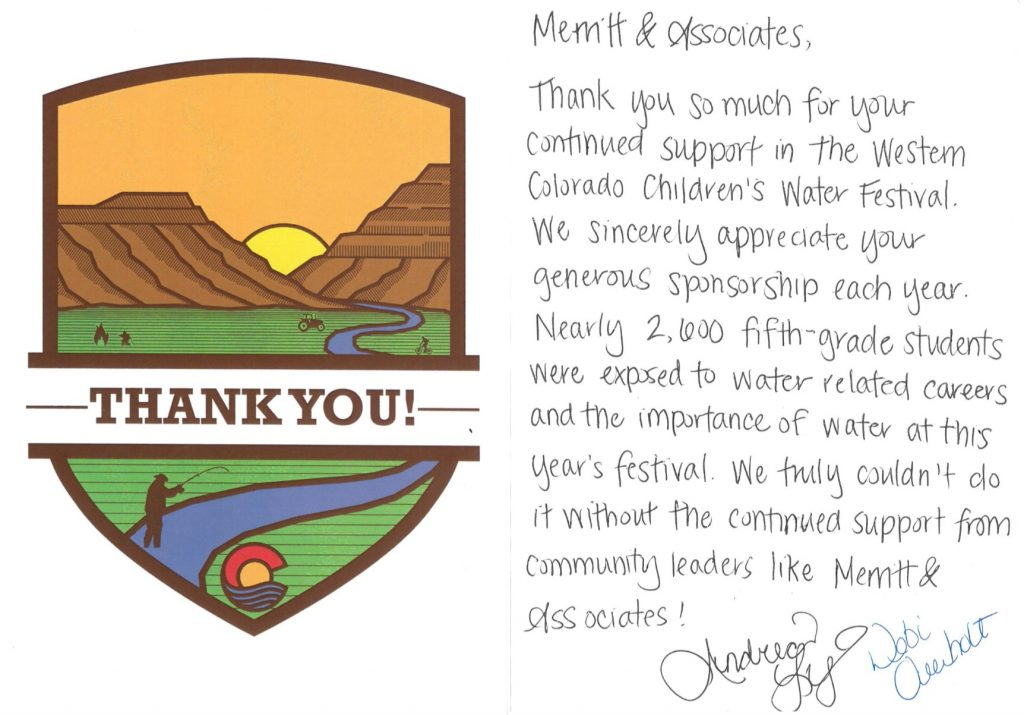 Thank you card from Ute Water for helping to sponsor the Western Colorado Children's Water Festival.